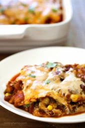 Late Summer Vegetable Enchilada Pie – A saucy, lasagna-like Mexican-American casserole layered with vegetables, tortillas, sauce and cheese.