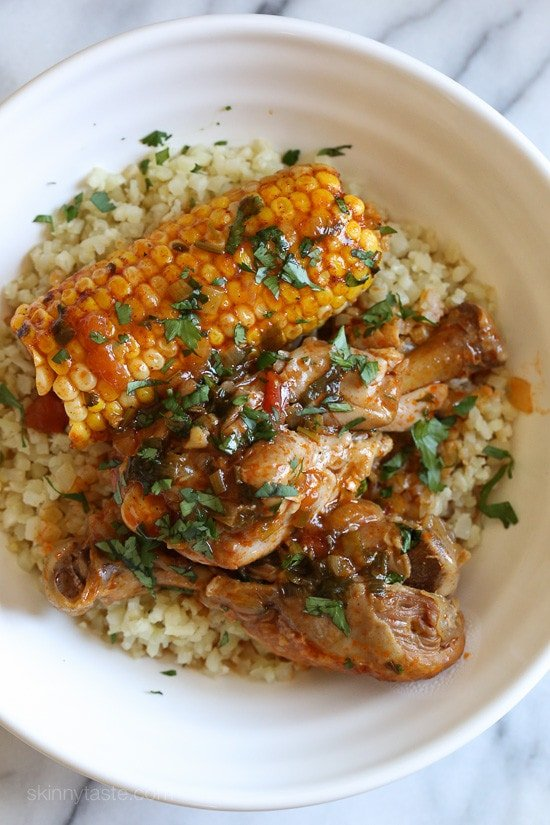 pressure cooker stewed chicken with corn pollo guisado