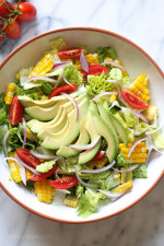 Summer Corn, Tomato and Avocado Salad are delicious topped with a Buttermilk-Dijon Dressing, goes great with anything you're grilling!