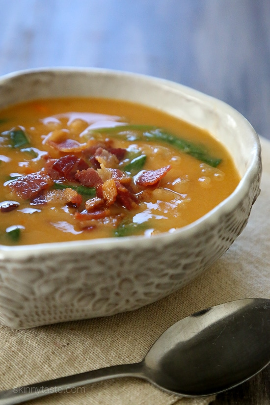 Bacon makes everything better (in my opinion), especially in this hearty white bean soup. It's delicious, inexpensive, and easy to make and leftovers are even better the next day. I made this in my Instant Pot (doesn't get quicker than that!), but I've also included slow cooker and stove top directions as well.