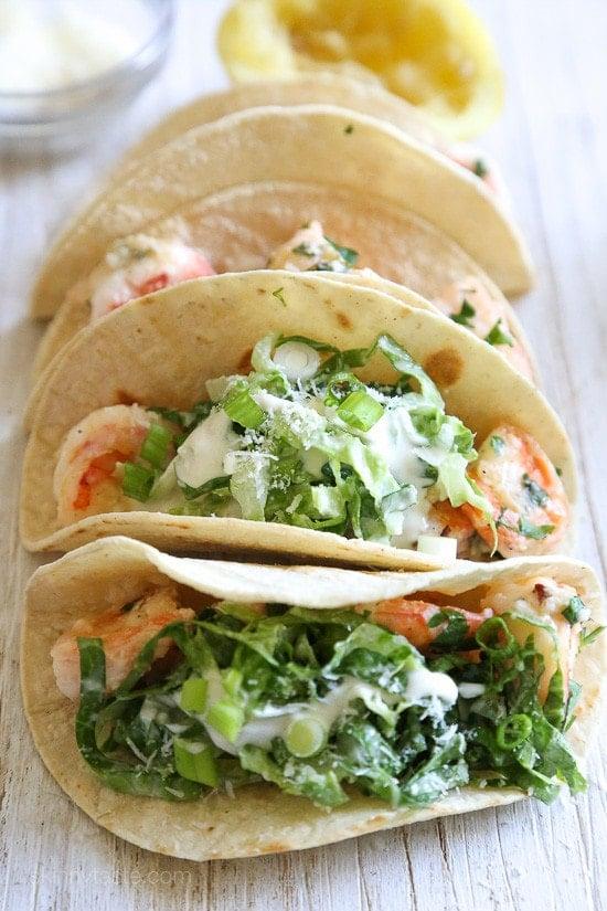 Shrimp Scampi Tacos With Caesar Slaw Recipe