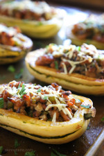 Delicata is very versatile, one of my favorite ways to eat it is stuffed with a savory sausage stuffing made with celery, onion and mushrooms – a wonderful contrast to the sweet flavor of the squash.