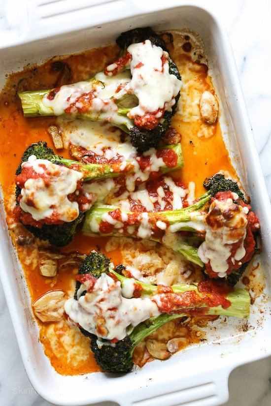I have one of my favorite veggies, roasted broccoli the parmesan treatment topped with with marinara, parmesan and melted mozzarella. If it works for eggplant, why not broccoli!
