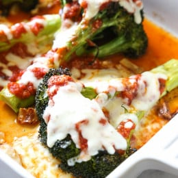 I gave one of my favorite veggies – roasted broccoli – the parmesan treatment (topped with with marinara and melted mozzarella)! If it works for eggplant, why not broccoli!
