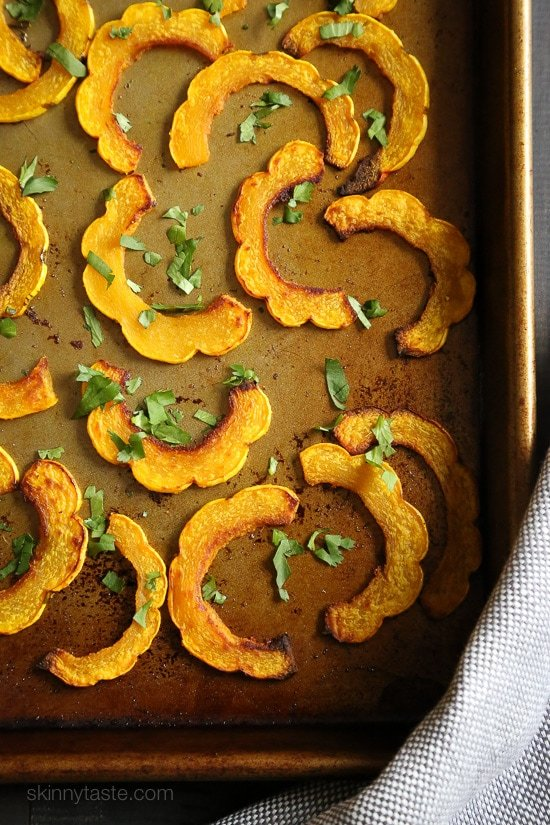 These are the perfect balance of savory and sweet, and fuss-free because you don't have to peel the skin of the Delicate squash, so it's pretty easy to prepare.
