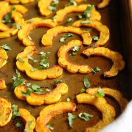 These are the perfect balance of savory and sweet, and fuss-free because you don't have to peel the skin of the Delicate squash, so it's pretty easy to prepare. Roasting Delicata brings out the flavor which makes a great Fall side dish with just about everything from chicken, to roasts and chops.