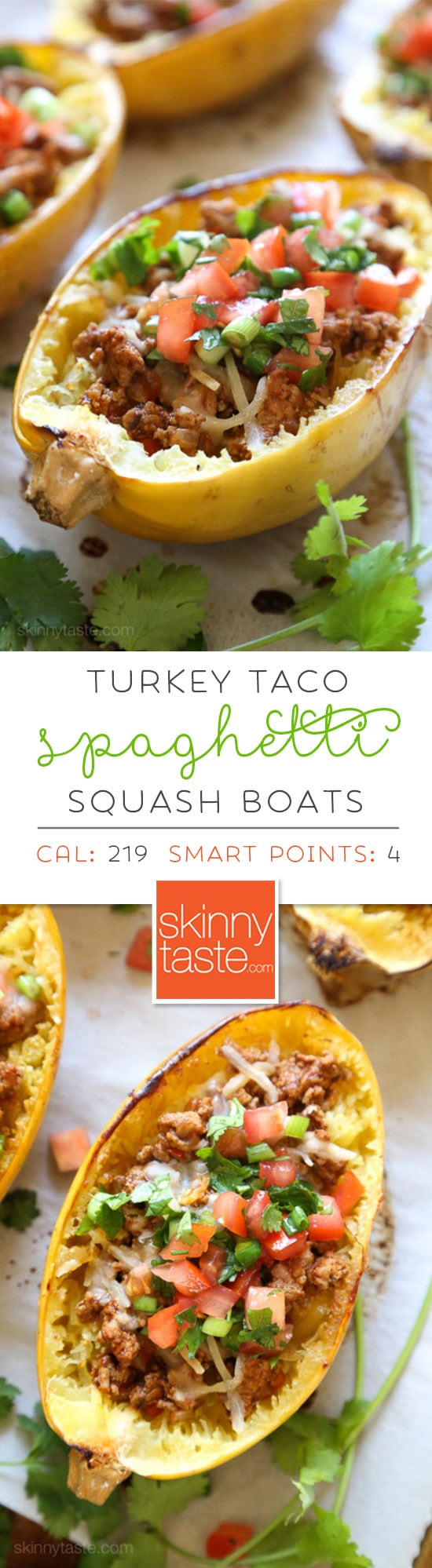 These Turkey Taco Spaghetti Squash Boats are my favorite way to eat spaghetti squash! Filled with the most flavorful turkey taco meat, cheese and topped with pico de gallo. #lowcarb #keto #spaghettisquash #spaghettisquashrecipe #glutenfree
