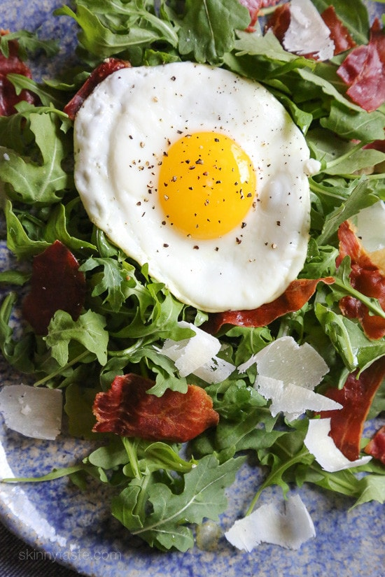 Arugula Salad with Crispy Proscuitto, Parmesan and Fried ...