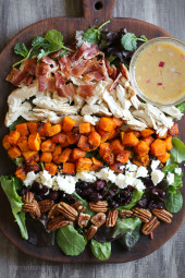 Did you eat too much stuffing and pumpkin pie this Thanksgiving? Here's a wonderful Fall cobb salad to use up any of that leftover turkey if you're looking for a meal that will be filling yet light.