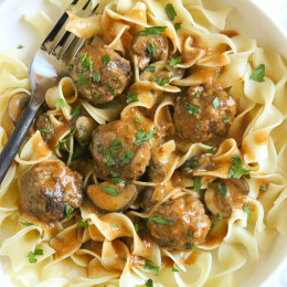 Delicious, turkey meatballs in a creamy mushroom sauce. A family-friendly dish that is so good over egg noodles or serve them over spiralized butternut squash noodles if you want to lower the carbs.