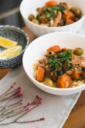 Chicken, prunes, olives, carrots, onions, garlic and ginger are slow-cooked with Moroccan spices to create a flavorful and fragrant dish that you'll want to make again and again. Serve it over whole-wheat couscous (or cauliflower rice for a low-carb option) with lemon wedges, fresh cilantro, or some chopped pistachios or almonds for a complete meal.
