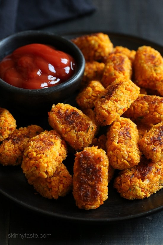 A healthier alternative to tater tots, and a great way to sneak orange-colored vegetables into your kids meals which are high in vitamin C and beta-carotene.