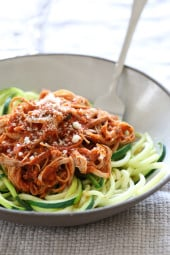 Pulled pork is not just for sandwiches, it's wonderful in this hearty sauce which is perfect over pasta, spaghetti squash or spiralized noodles.