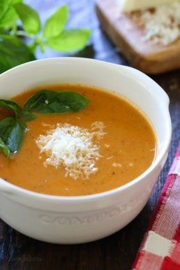 This is the soup I crave on nights I want soup with a sandwich (great with grilled cheese or garlic bread!). It's super easy and can be made anytime of the year because it uses canned tomatoes.