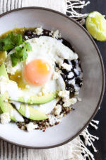 Eggs are not just for breakfast, I love them for lunch or dinner too! These flavorful protein-pack bowls topped with salsa verde, black beans, avocados and queso fresco.