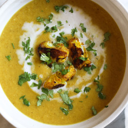 Roasting cauliflower enhances the flavors in this delicious, healthy soup. If you haven't jumped on the turmeric bandwagon yet, this soup is a great place to start! I like to reserve some of the roasted cauliflower as a garnish for the soup.