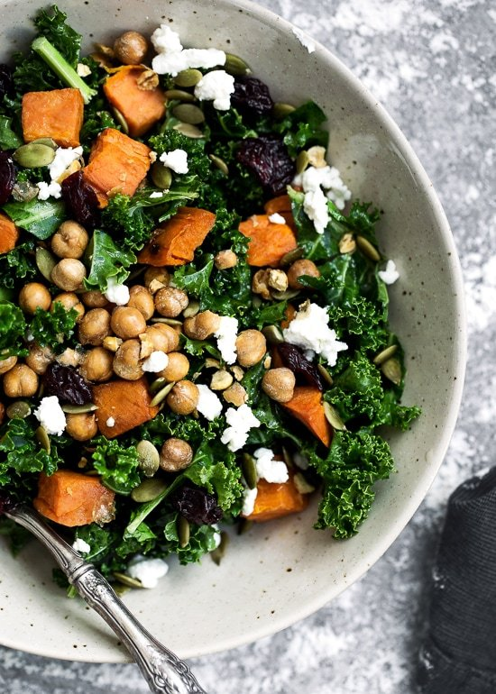 Kale Salad With Roasted Sweet Potatoes Dried Cherries