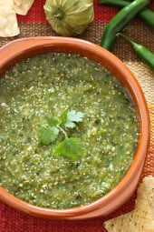 A fresh, healthy salsa made with roasted tomatillos, peppers, garlic, onion and cilantro.