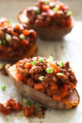 Swapping bread for baked sweet potatoes makes eating a Sloppy Joe so much healthier! This savory-sweet dish is gluten-free, dairy-free, whole30 and Paleo.