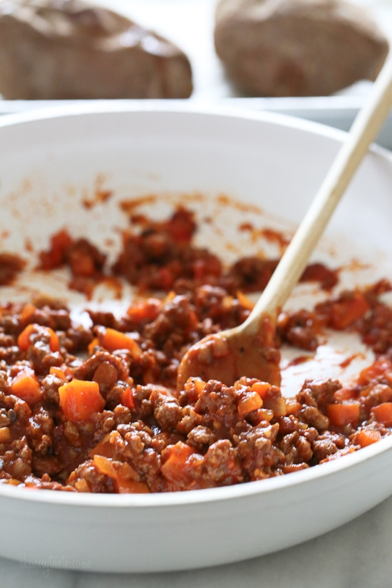 Swapping bread for sweet potatoes makes eating a Sloppy Joe so much healthier!