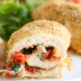 These Sundried Tomato Stuffed Chicken Breasts are filled with Sun Dried Tomato Bruschetta, mozzarella and spinach, rolled, breaded and baked in the oven or air fryer.