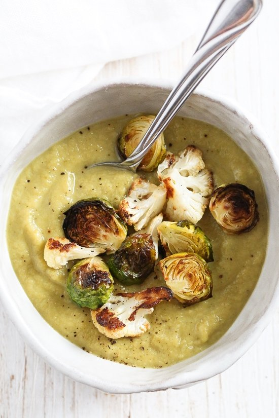 Roasted Brussels Sprouts and Cauliflower Soup | Homemade Vegetable Soup Recipes