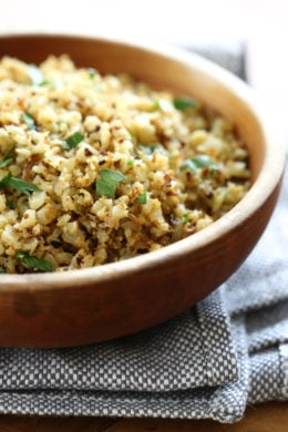 """I love cauliflower """"rice"""", and I love roasted cauliflower so I combined the two to make this easy low-carb side dish that goes great with just about anything from chicken, to steak or fish."""
