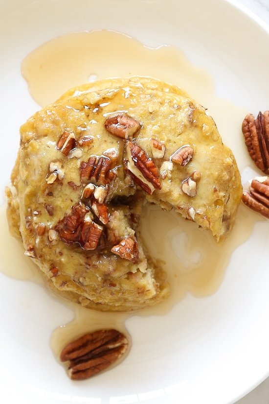 EASY, healthy pancakes, made with only FOUR ingredients, nuts, ripe bananas and oats, plus a whole egg for a powerhouse of nutrition all in a quick breakfast! A perfect way to use up those ripe bananas.