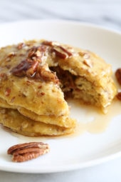 EASY, good-for-you pancakes, loaded with heart-healthy nuts, banana and oats, plus a whole egg – a powerhouse of nutrition. Made with only FOUR ingredients, perfect to make anytime you need to whip up a quick breakfast, and a perfect way to use up those ripe bananas.