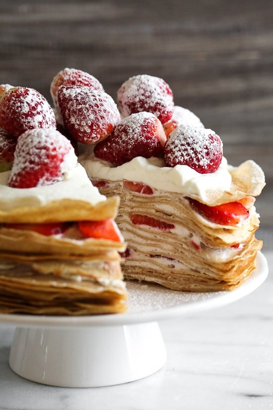 No Bake Strawberries And Cream Crepe Cake