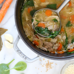 When it's chicken and noodle soup my family craves, we love this easy homemade chicken soup, loaded with chicken, veggies and our favorite pasta shape – Acini di Pepe.