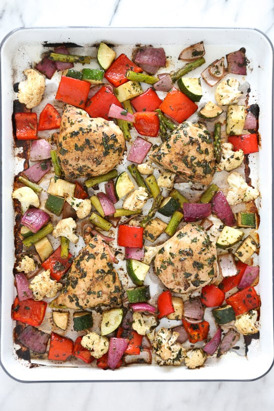 Sheet Pan Balsamic Herb Chicken And Vegetables