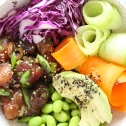 Shoyu Ahi Poke is the traditional Hawaiian dish of raw fish seasoned with soy sauce and sesame oil.
