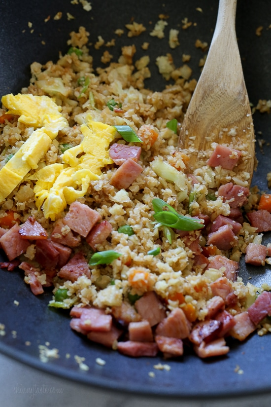 Cauliflower fried rice with leftover ham skinnytaste cauliflower fried rice with leftover ham is a great way to use up that ccuart Choice Image