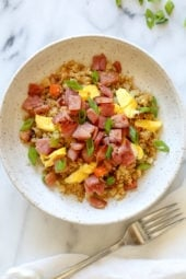 "Cauliflower Fried ""Rice"" with Leftover Ham is a great way to use up that leftover ham from the Holidays, made with riced cauliflower in place of rice to make it low-carb – delicious!"