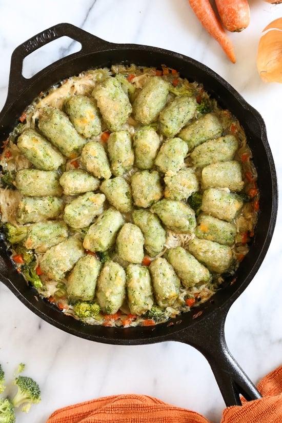 Skillet Chicken and Broccoli Veggie Tot Pie