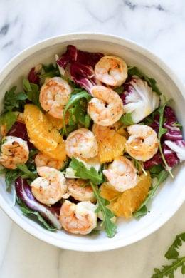 Grilled Shrimp Salad with Orange, Endive, Baby Arugula and Radicchio