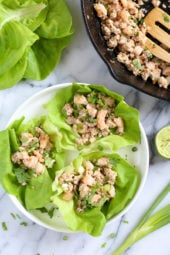This chicken and shrimp laap or larp is a Laotian version of lettuce wraps. It's low-carb, Paleo-friendly, Whole 30 approved, loaded with flavor and so fast and easy to make!