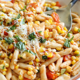 This pasta dish just screams summer! A quick dish made with homemade Cavatelli pasta, (can be purchased fresh or frozen in any Italian specialty store) cherry tomatoes, zucchini, corn and marinara. Perfect to whip up on busy weeknights as this dish comes together in less than 20 minutes.