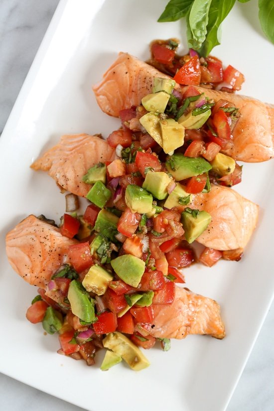 Grilled Salmon With Avocado Bruschetta Recipe Skinnytaste