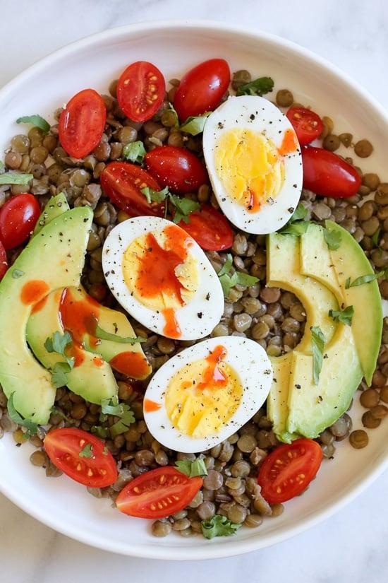 Lentil Bowls with Avocado, Eggs and Cholula