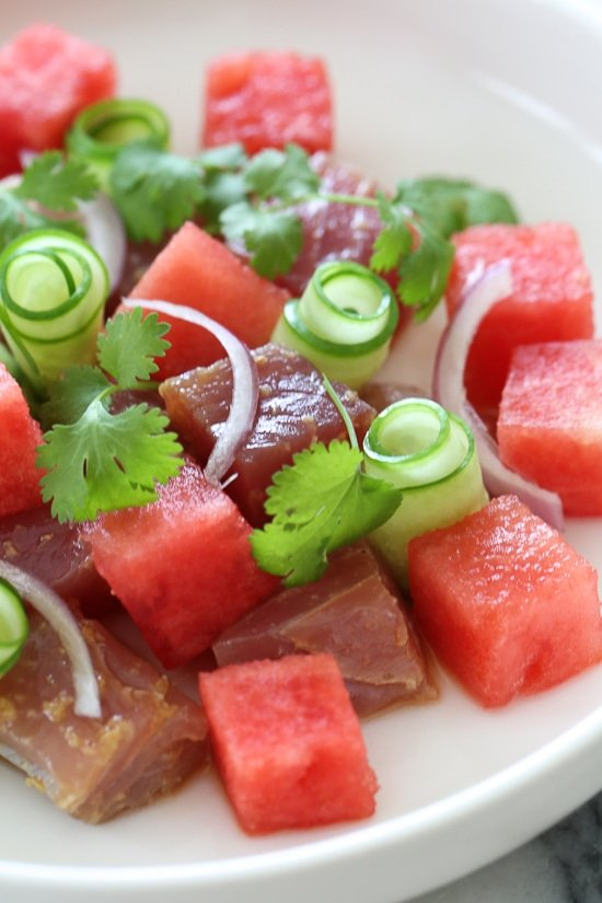 Juicy watermelon and soy-marinated Ahi tuna with cucumbers makes a delicious, light, summer salad appetizer or first course when you need a dish to impress!
