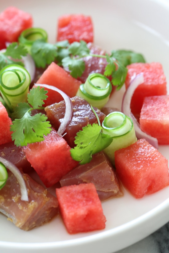 Juicy watermelon and soy-marinated Ahi tuna with cucumbers makes a delicious, light, summer appetizer or first course when you need a dish to impress!