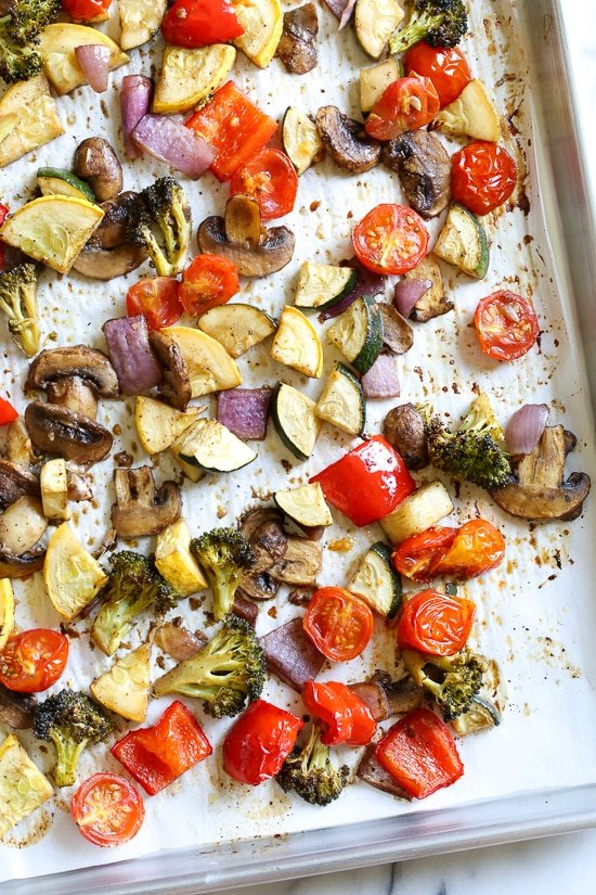 One bite of this Balsamic Roasted Veggie and White Bean Pasta and you'll want to make it all summer long! Roasted zucchini, yellow squash, mushrooms, peppers, and broccoli – loaded with veggies in every bite and finished with pesto and white beans. This is SO good, and picky husband approved!