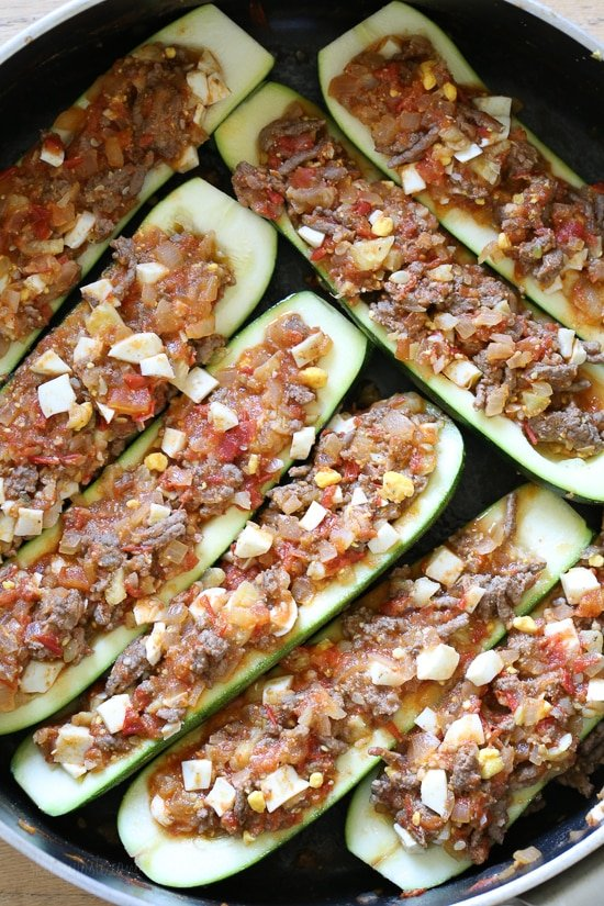 These Stuffed Zucchinis, which are low-carb, Whole30, Keto, gluten-free, dairy-free and Paleo, are inspired from a Colombian dish, Pepino Rellenos which I fell in love with when I was there many years ago.