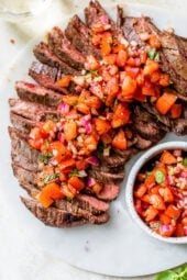 Grilled Steak With Tomatoes, Red Onion and Balsamic