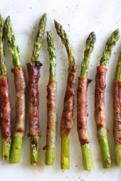 These 3-ingredient Prosciutto Wrapped Asparagus make a delicious side dish or a great addition to your charcuterie platter!