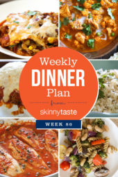 Skinnytaste Dinner Plan (Week 86). I am traveling abroad this week for a family wedding, but I made sure you leave you with a plan before I go! Hope everyone enjoys!