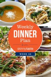 Skinnytaste Dinner Plan (Week 88). Adding some easy meals to the list plus one of my family's favorite – Breaded Pork Cutlets with Lime. If you haven't tried this I highly recommend it! If you don't eat pork, chicken would work. And with so much basil still in my garden, we LOVE the tomato soup, hope you do too!