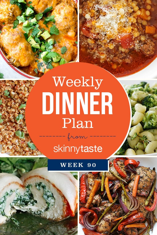 Skinnytaste Dinner Plan (Week 90). This week Madison goes back to school, so I added some easy, kid-friendly dishes this week including a few that I can pack in her thermos the next day (the pasta with broccoli and acini di pepe soup are perfect for this!).